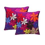 Zikrak Exim Felt Flower Cushion Cover Purple 2 Pcs Set 40 X 40 Cm