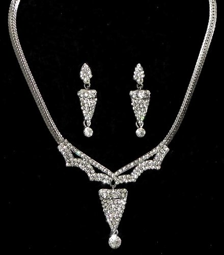 White Stone Studded Necklace With Earrings - Stone