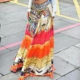 Boho High Waist Pleated Summer Beach Long Maxi Skirt Casual Dress Sundress
