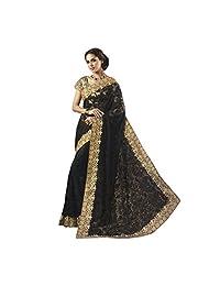 Black And Golden Soft Net And Georgette Designer Saree
