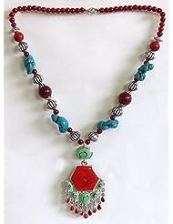 Tibetan Necklace With Hexagonal Pendant - Beads And Metal