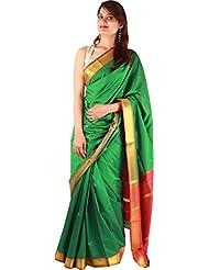 Green Artificial Silk Indian Saree Zari Plain Border Work Designer Sari