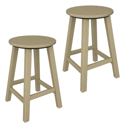 Poly Wood Traditional Round Counter Bar Stool Metal Shop