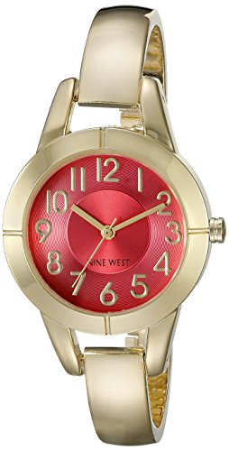 Nine West Women's NW/1762COGB Easy To Read Coral Dial Gold-Tone Bangle Watch