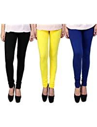 Snoogg Womens Ethnic Chic Inspired Churidar Leggings In Black, Yellow And Blue