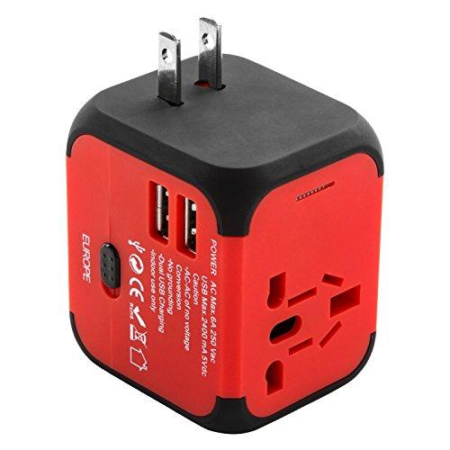 Voyage Adaptateur International avec Double Chargeur USB US / EU / UK / AUS Universel Prise de Courant Tout en un Multi-Nation Multi-prise daptateur e...
