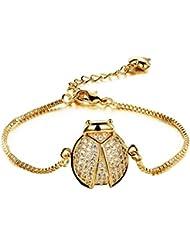 Asma 18K Gold Plated CZ Titanium Steel Lucky Beetles Bracelet For Women