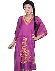 Exotic India Bright-Purple Kashmiri Short Kaftan With Ari Embroidered F - Purple