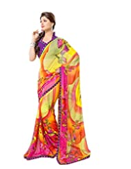 FadAttire Georgette Chiffon Printed Saree With Blouse FAPKS16