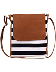 Lychee Bags Women's's Brown Canvas Sling Bag (LBHBCP18TAN)