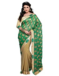 Texclusive Women's Jacquard Saree With Blouse Piece (Green & Beige)
