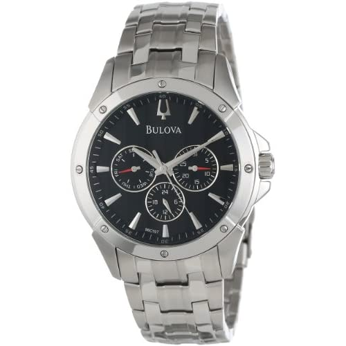Bulova Men's 96C107 Black Dial Bracelet Watch