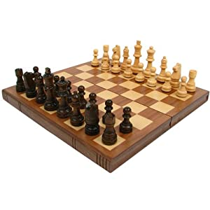 chess set amazon walnut book style chess board with staunton 29756
