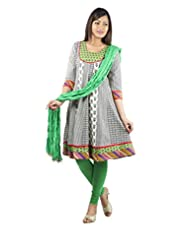 Rama Set Of Green-White Color Anarkali With Green Color Legging & Duppatta