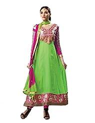 FadAttire Embroidered Party Wear Faux Georgette Anarkali Suit-Green-FAAV05