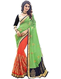 Bollywood Designer Original Rich Look PIsta And Orange Half Half Saree With Blouse Material (Aishwariya-01)