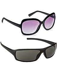 New Stylish UV Protected Combo Pack Of Sunglasses For Women / Girl ( BlackButterfly-BlackWrap ) ( CM-SUN-001 )