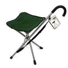 Folding cane chair - Walking stick with tripod stool