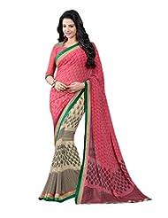Rajnandini Multicolor Printed Georgette Saree With Zari Border &Unstitched Blouse