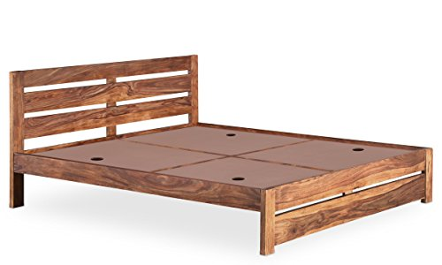 "Vintage Home Latest Designer Madison Modern Contemporary Solid Sheesham Wood King Size Without Storage Bed In Provincial Teak Finish/Mattress Board Made Of MDF, For Home/Bedroom/Home Décor Furniture (LxWxH= 75"" X 81.9"" X 35.4"")"