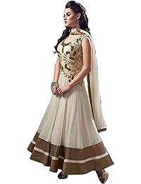 Cream Color Zari Zardosi Design With Zari Double Border At Bottom Designer Long Semi-stitched Anarkali Salwar...