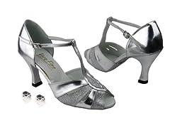 Very Fine Ladies Women Ballroom Dance Shoes EK2702 Silver Stardust & Silver Leather 2.5