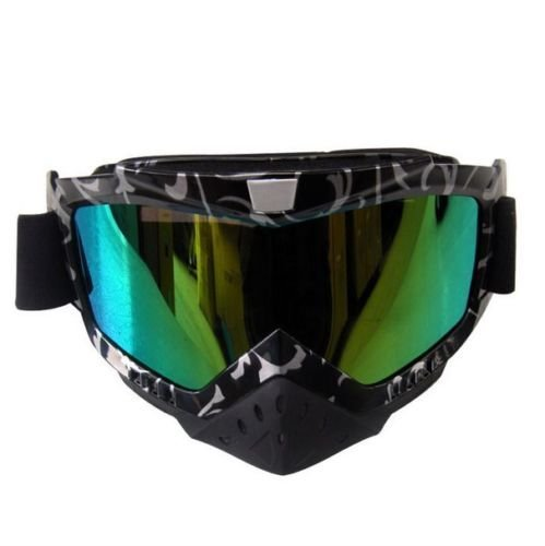 Ediors Adult Sports Motocross Offroad ATV Dirt Bike MX Racing Safety Goggles Eyewear Black/Silver Frame Multi-color Tinted Lens