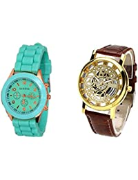 COSMIC COMBO WATCH- GREEN STRAP ANALOG WATCH FOR WOMEN AND BROWN ANALOG SKELETON WATCH FOR MEN
