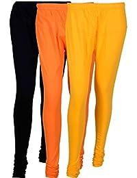 Cotton Leggings (Culture The Dignity Women's Cotton Leggings Combo Of 3_CTDCL_BOY_BLACK-ORANGE-YELLOW_FREESIZE)