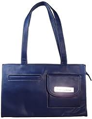 KARP Women's Vintage Casual Stylish Navy Blue PU Leather Multi Compartment Large Capacity Shoulder Handbag (HandBag...