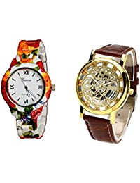 COSMIC COMBO WATCH- COLORFUL STRAP ANALOG WATCH FOR WOMEN AND BROWN ANALOG SKELETON WATCH FOR MEN - B01CJCS96S