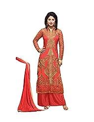 Aarti Saree Women Coral Pink Georgette Straight Salwar Suit Set Palazzo Suit