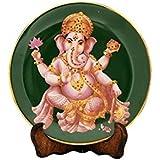 Sach Sahib The Ganesha(Green) Decorative Plate ( 17 Cm X 17 Cm , SS031)