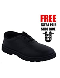 Black School Shoes For Boys With Extra Pair Of SHOE LACE FREE