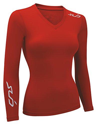 Sub Sports Dual - Camiseta de compresión de running para mujer, color rojo, talla XS