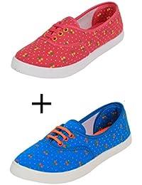 Surplus Women's Combo G5 Sky Blue & Pink Casual Shoes