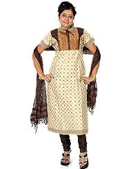 Exotic India Beige And Black Anarkali Suit With Brocade Weave - Beige