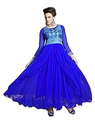 Surat Tex Blue Color Embroidered Georgette Semi-Stitched Anarkali-D538DL9062SA