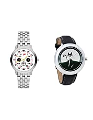 Gledati Men's White Dial And Foster's Women's Black Dial Analog Watch Combo_ADCOMB0001807