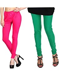 Shiva Collections Green And Pink Cotton Legging