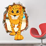 3D Baby Kid Room Cartoon Lovely Cute Leopard Wall Decals Removable Paper Stickers Art DIY Gift Fun Decoration