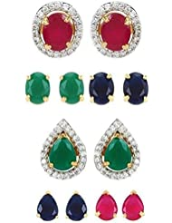 Jewels Galaxy Combo Of Circular And Water Drop Design 6-in-1 Interchangeable Earring - Pack Of 12 Piece