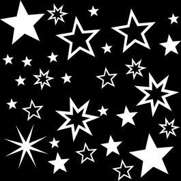 30 Stück weiße Sterne Aufkleber, Mix-Set