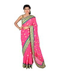 Ctc Mall Magenta With Green Boder Faux Georgette Saree