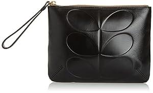 Orla Kiely Embossed Stem Leather Medium Zip Pouch,Black,One Size