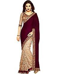 V-Art Women's Vel-vet & Brasso Half-Half Sari With Blouse (Wine_Beige)