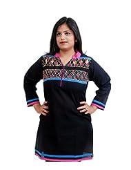 Viniyog Women Hand Woven Cotton Black Kurti