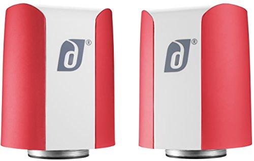 Damson Jet Portable Wireless Stereo Speaker Pair Black And White Red