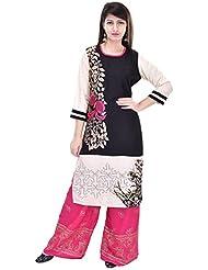 Khushfashions Women's Black & Pink Color Printed Kurti & Plazoo