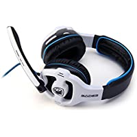 Sades SA - 903 7.1 Surround Sound USB Gaming Headset With Mic Volume Control WHITE AND BLACK